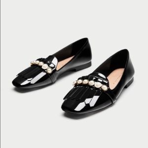 Zara   Mules Slides With Pearl Beads Flats Loafer